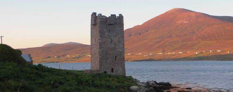Kildavnet Castle is a late Medieval Tower House overlooking the southern end of Achill Sound